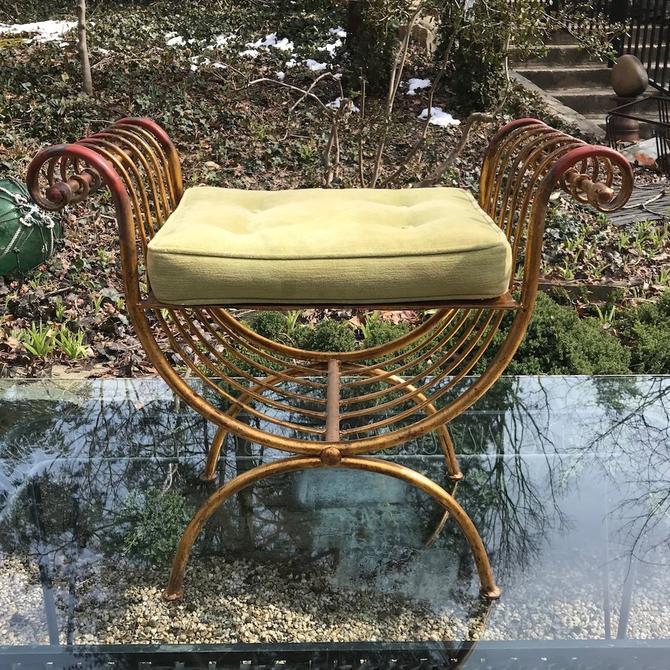 Miraculous Italian Gilt Stool Vintage Vanity Mid Century 20Th Greek Dailytribune Chair Design For Home Dailytribuneorg
