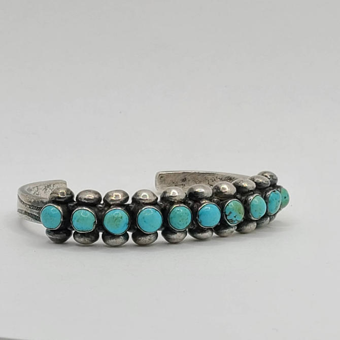 Old Pawn Silver Turquoise Cuff - Zuni or Navajo - 40s/50s Cuff - Multicolor Turquoise - Thin Cuff by BellsAndWhistlesEtc