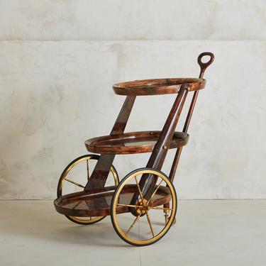 Three Tiered Goatskin Barcart by Aldo Tura for Italian Modern Design