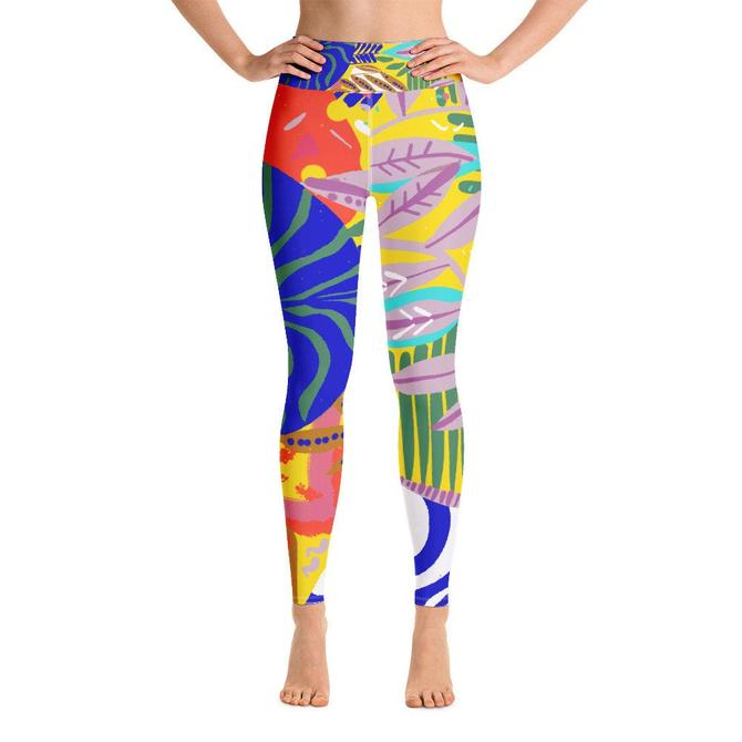 Yoga Leggings | Abstract Shape Wear | Summer Wearables | Colorful Loungewear by VioletredStudio