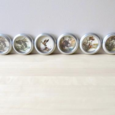 vintage aluminum coasters hunting fishing collectible barware set of six - wildlife Sweney artist duck moose bass by ionesAttic