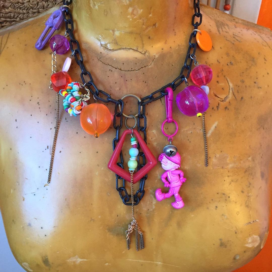 1980s Plastic Charm Necklace 80s Jewelry Lucite Bead