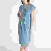 Knot Dress, Organic Cotton Bubble Gauze in Indigo