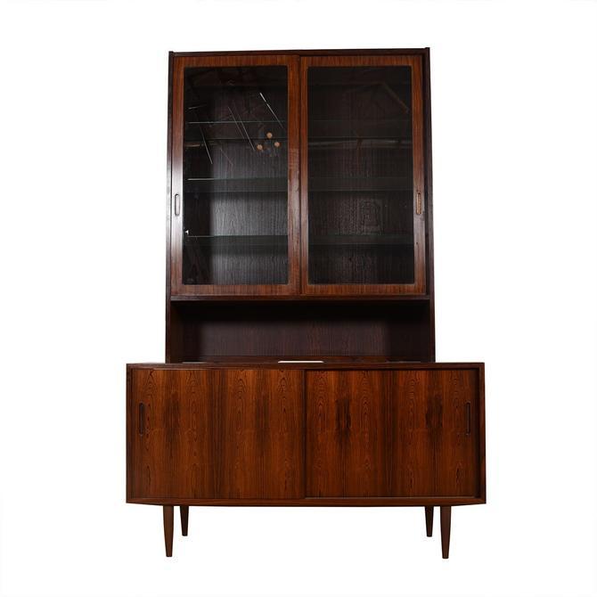 Danish Rosewood 2 Pc. Display Cabinet & Sliding Door Storage