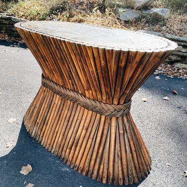 McGuire Style Oval Sheaf of Wheat Bamboo Pedestal Dining Table Base by VintageandSwoon