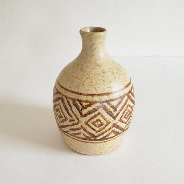 Vintage Pottery Craft Bud Vase, Small Retro Ceramic Weed Pot, Rustic Tribal Pattern Stoneware, Mid-century Organic Style by CivilizedCrow