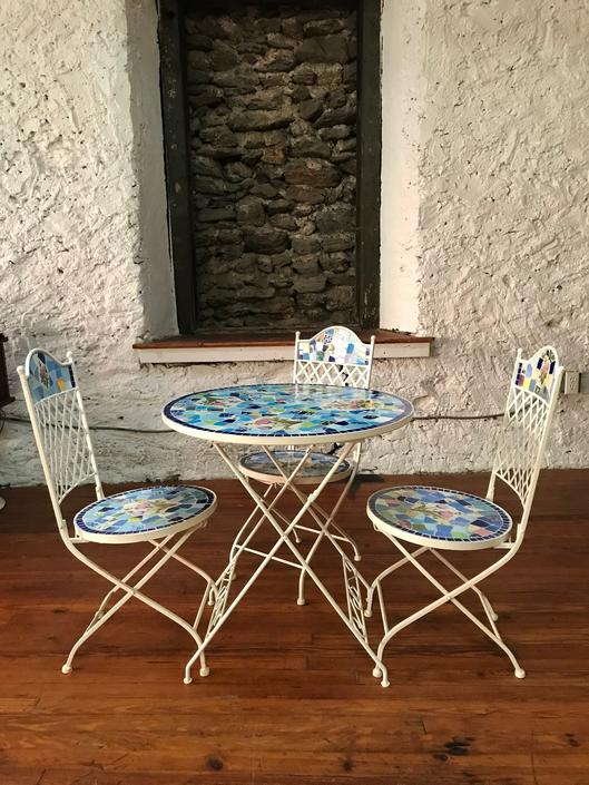 Mid century patio set mosaic tile patio furniture garden furniture by VintaDelphia