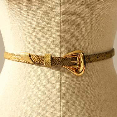Vintage 80s Alexis Kirk Olive Green Adjustable Lizard Skin Belt with Gold Avant Garde Buckle   Genuine Leather   1980s Designer Boho Belt by TheVault1969