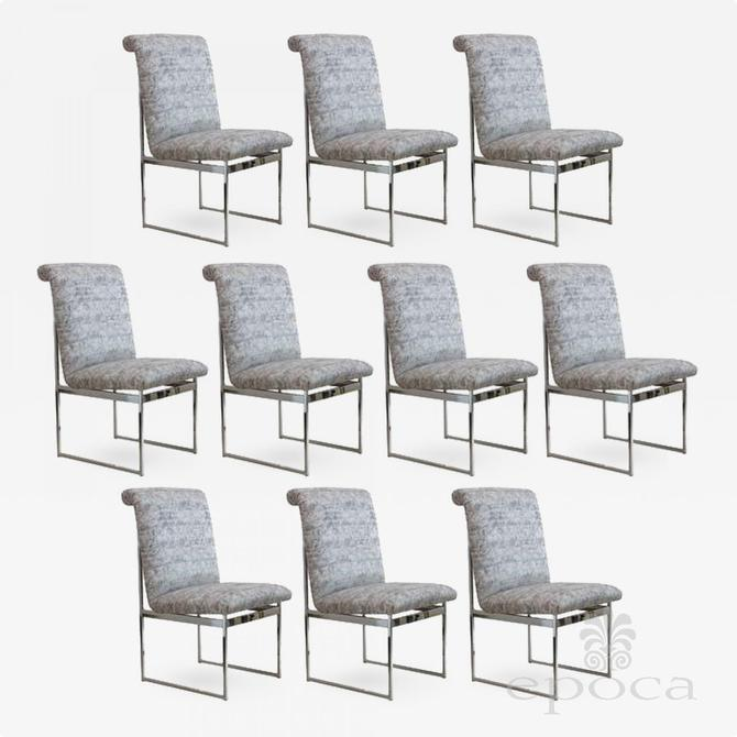a good quality set of 10 chrome and upholstered dining chairs by Milo Baughman, 1970's