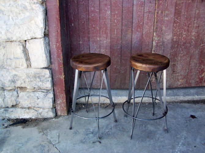 Free Shipping Reclaimed Wood and Metal Ice Cream Parlour Stools by StrongOaksWoodshop