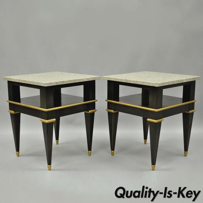 Pair French Louis XVI Jansen Style Marble Top Wood Side End Tables Black & Gold