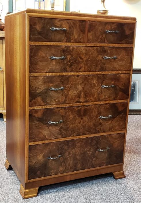 Item #S233 Vintage Burl Walnut Chest of Drawers c.1940s