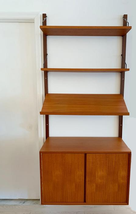 Mid Century One-Bay Paul Cadovius Teal Wall Unit