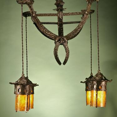 Hammered Bronze and Mica Arts and Crafts chandelier RARE *RESTORED* ANTIQUE by vintagefilament