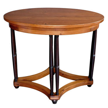 English Pine Oval Center/Side Table Raised on Columnar Supports