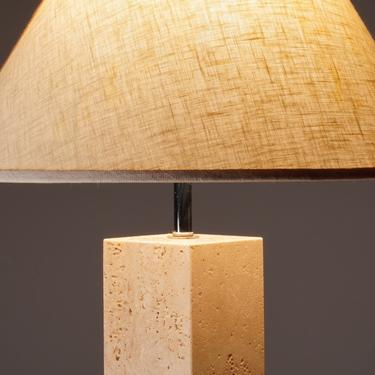 George Kovacs Travertine Column Table Lamp by Youshouldknollbetter