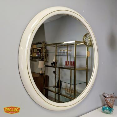 Post-Modern 80s era white lacquer and brass large round mirror