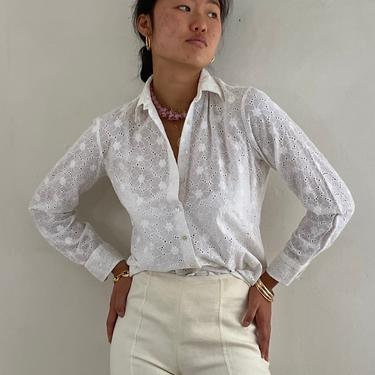 90s eyelet blouse / vintage white cotton embroidered broderie anglaise eyelet long sleeve collared semi sheer blouse | S M by RecapVintageStudio