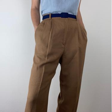 vintage camel woven high waist trousers size us 12 by miragevintageseattle