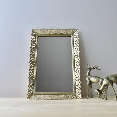 gold gilded vanity tray - ornate metal rectangular frame - brass makeup mirror by ionesAttic