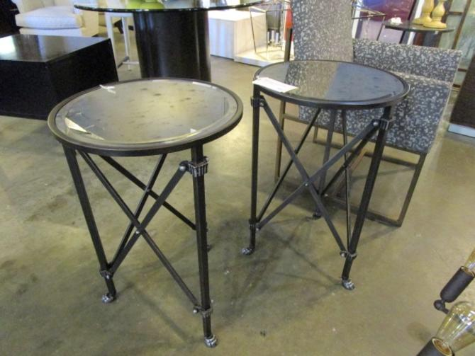 PAIR OF BALLARD DESIGN SIDE TABLES WITH MIRRORED TOPS PRICED SEPARATELY