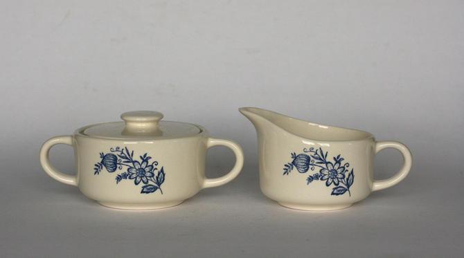vintage blue onion sugar bowl and creamer by suesuegonzalas