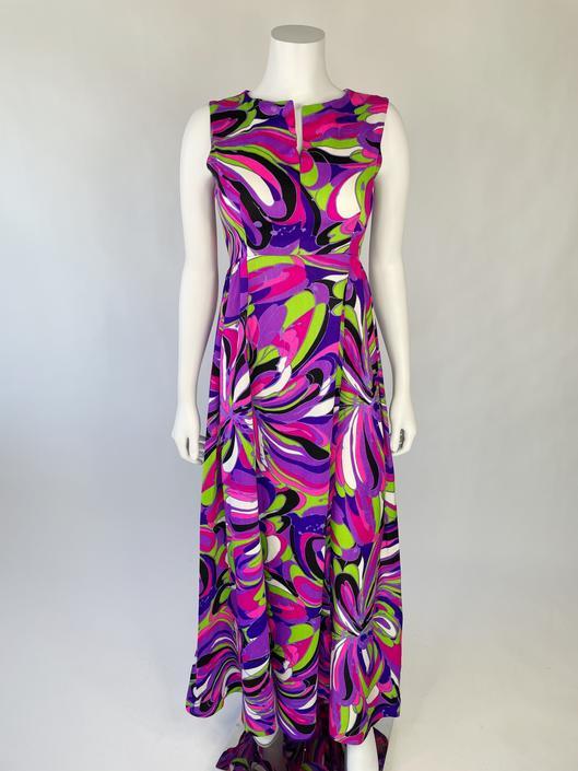 1960's Acid Bright Psychedelic Maxi Dress
