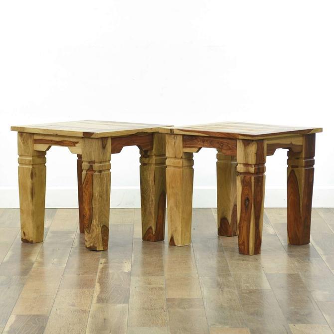 Pair Rustic Solid Acacia Wood Side Tables, Jaipur