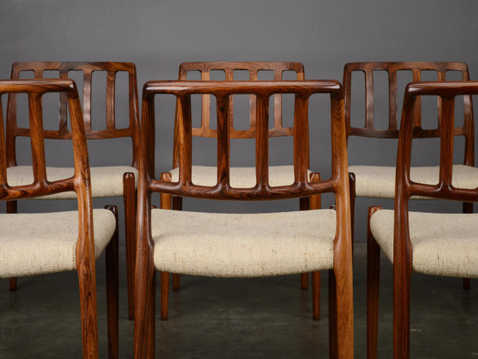 8 Møller Model 83 Rosewood Dining Chairs Mid Century by MadsenModern