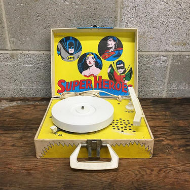 Vintage RARE DC Comics Record Player Retro 1978 Super Hero Superman Batman Robin and Wonder Woman with Two Comic Books and Records by RetrospectVintage215