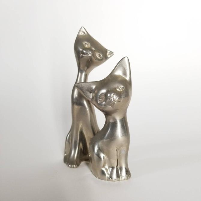 Vintage Cat Figurines / Pair of Art Deco Cat Statues / Small Midcentury Silver Tone Siamese Cats / Retro Metal Objet D'Art / Cat Lover Gift by SoughtClothier