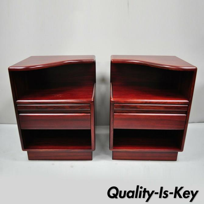 Pair of Mid Century Modern Danish Modern Rosewood Nightstands Tables by Mobican