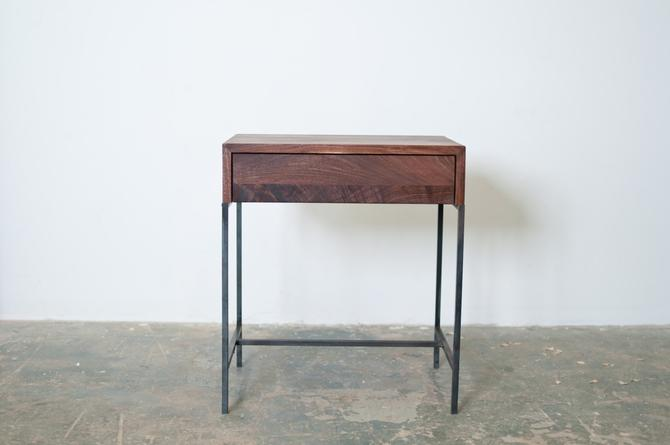FREE SHIPPING Night Stand- Side Table Black Walnut and Steel Base by dylangrey