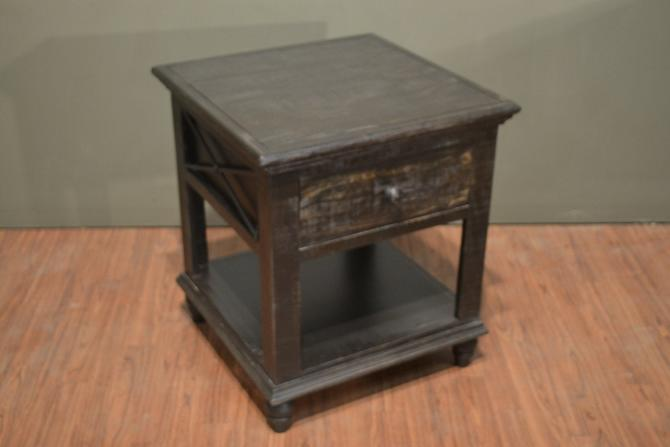 Rustic Style Solid Wood Charcoal Black End Table by RusticShop1