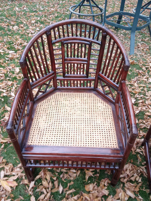 VINTAGE Brighton Pavilion  Bamboo Chair// Chinioserie Style Rattan Bamboo & Cane Arm Chair// Hollywood Regency Decor. by 3GirlsAntiques