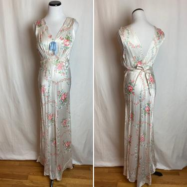 40's floral satin slip dress~ pastel pink & blue romantic flower pattern~ bias cut rayon 1940s bombshell gown nighty sexy nightgown by HattiesVintagePDX