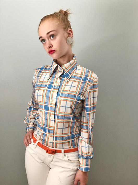 Vintage 70s Plaid Polyester Button Down Top by SpeakVintageDC