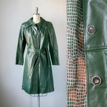 1970s Leather Coat Green Long Trench Jacket M by dejavintageboutique