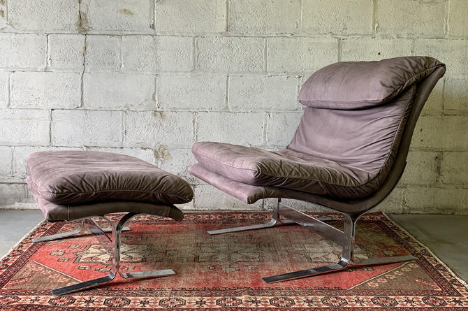 Mid Century Modern SAPORITI style SUEDE + Chrome LOUNGE Chair and Ottoman by CIRCA60