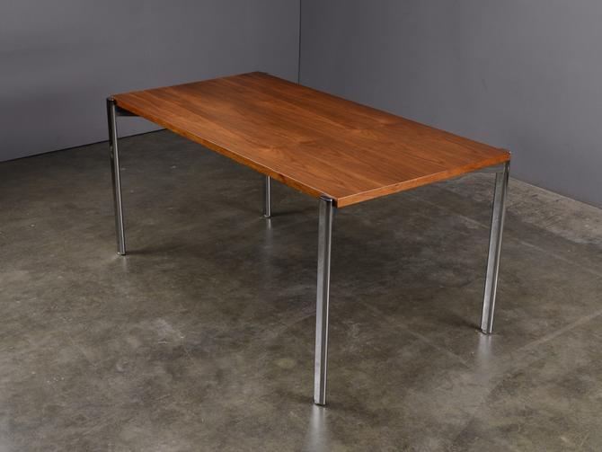 5ft Vintage Modern Walnut and Steel Dining Table Desk Mid Century by MadsenModern