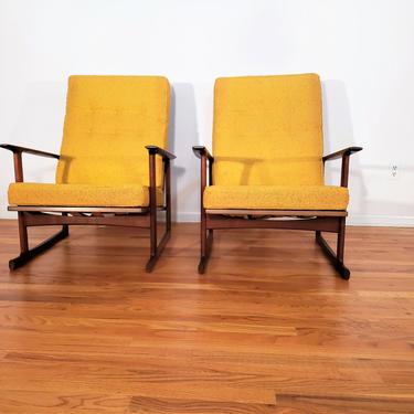 Mid Century Ib Kofod Larsen for Selig Pair of High Back Wood Lounge Chairs by ProRefineFurnishings