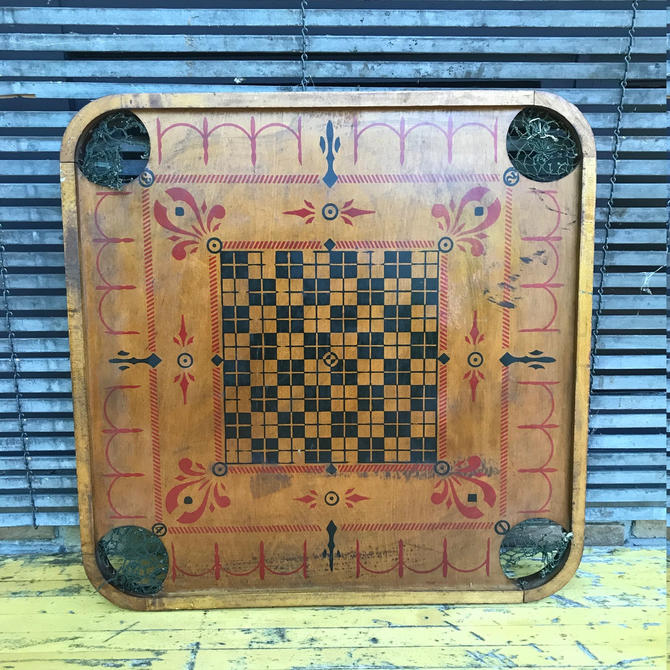 Antique Carrom Company Crokinole and Checkers Wooden Board Vintage Early Century 1899-1920s by BrainWashington
