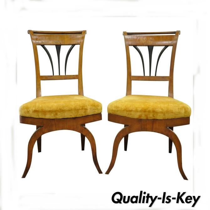 Pair of 19th C Biedermeier Ebonized & Burl Walnut Curule Base Side Accent Chairs