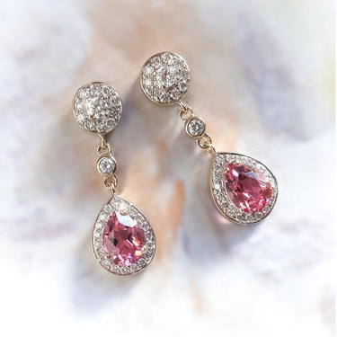 Estate Pink Pear Shape Tourmaline and Diamond Drop Earrings 18K White Gold by YourJewelryFinder