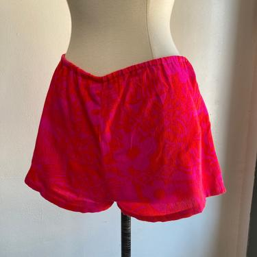 COOL Vintage 60's TROPICAL HOT Pants Booty Swim Shorts / Fuschia + Hot Pink Batik Print by CharmVintageBoutique