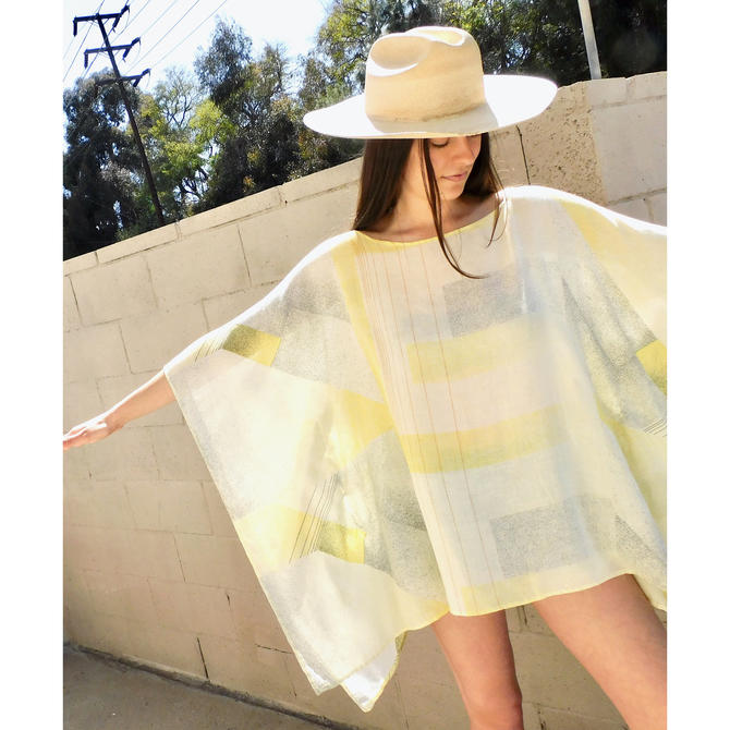 Echo Park Mini // vintage 70s sun yellow 1970s boho hippie cotton hippy beach cover blouse dress // O/S by FenixVintage
