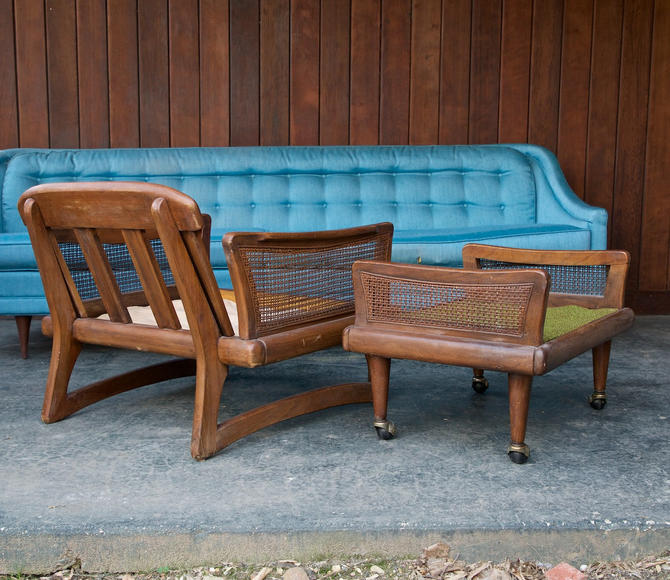 Vintage Mid-Century Adrian Pearsall style Chair and Ottoman by BrainWashington
