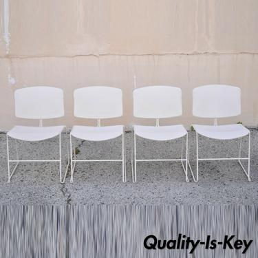 Steelcase Max-Stacker III White Chair Office Stacking Dining Chairs - Set of 4