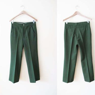 Vintage 70s Green Pants 26 - High Waist Straight Leg Trousers - Dark Green Polyester Trouser Pants - 70s Clothing - High Waisted Pants by MILKTEETHS