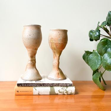 Pair of Mid Century Studio Pottery Goblets / Set of Two Speckled Handmade Glazed Earth Tone Wine Glasses / Rustic Primitive Eclectic Decor by Hawksbride
